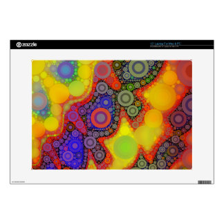 "Trippy Florescent Yellow Orange Blue Circle Abstra Skin For 15"" Laptop"