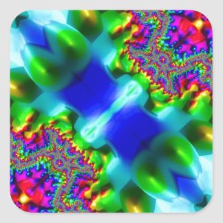 Trippy Fractal Abstract Square Stickers