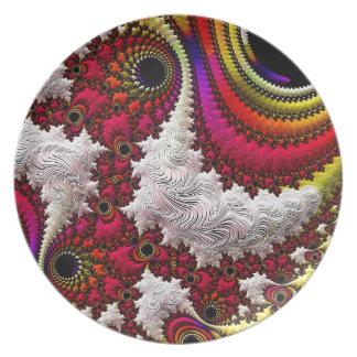 Trippy Fractal Art Decor Plates