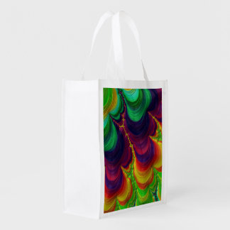 Trippy Fractal Art Grocery Bags