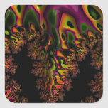 Trippy  Fractal Square Stickers