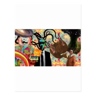Trippy Frankenstein Art Postcard