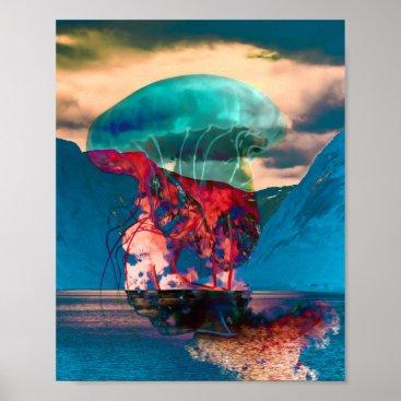 Beach Themed Trippy Funky Jellyfish Art Print