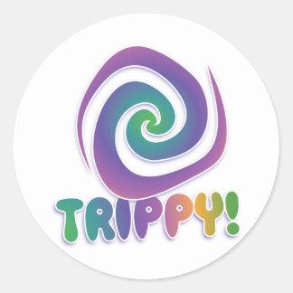 trippy! Groovy 70s psychadellic swirl Classic Round Sticker