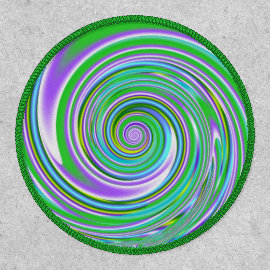 Trippy Groovy Colorful Abstract Spiral Patch