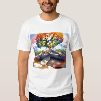trippy-man-tree tee shirt