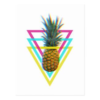 Trippy multicolor pineapple postcard