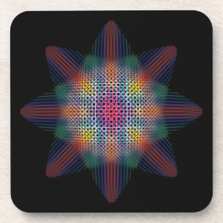 Trippy Multicolored Star on Black Surface Drink Coaster