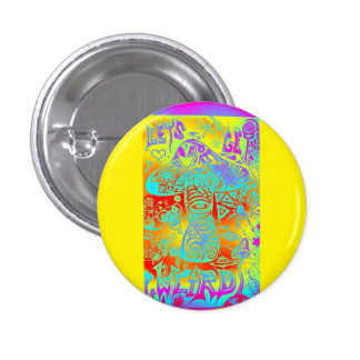 trippy mushroom pinback button