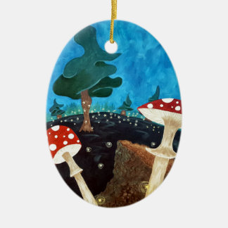 trippy night in the woods ceramic ornament