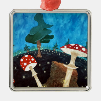 trippy night in the woods metal ornament