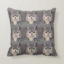 Trippy Owl Throw Pillow