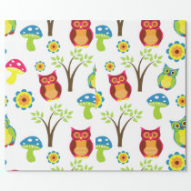 Trippy Owls and Mushrooms Gift Wrapping Paper