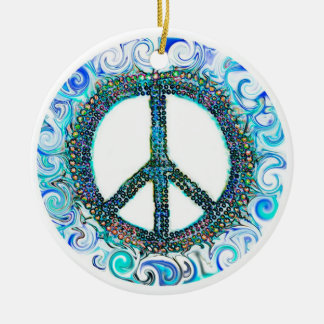 Trippy Peace Sign Christmas Ceramic Ornament