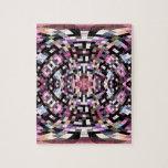 Trippy Pink and Black Geometric Jigsaw Puzzle