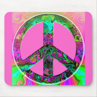 Trippy Pink Peace Sign Mousepad