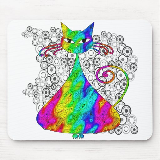 Trippy Psychedelic Cat Mousepad