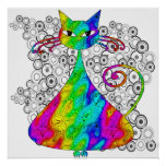 Trippy Psychedelic Cat Poster