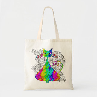 Trippy Psychedelic Cat Shopping Bag