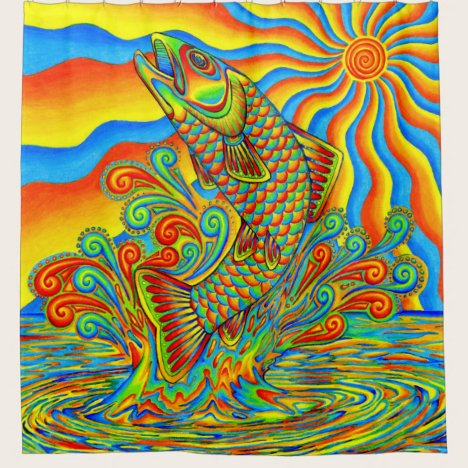 Trippy Psychedelic Rainbow Trout Shower Curtain