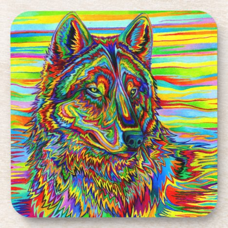 Trippy Psychedelic Rainbow Wolf Plastic Coasters