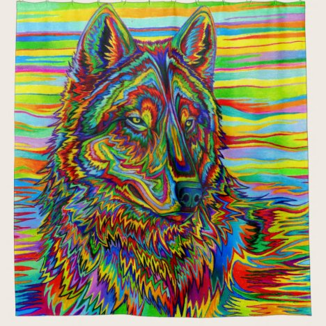 Trippy Psychedelic Rainbow Wolf Shower Curtain