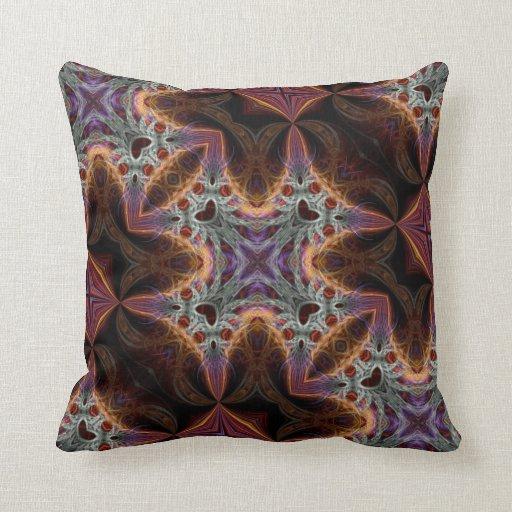 Trippy  Purple Orange Fractals Decor Cushion