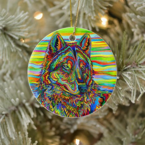 Trippy Rainbow Psychedelic Wolf Ceramic Ornament