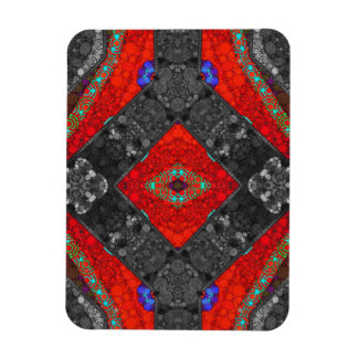 Trippy Red Blk Abstract Rectangular Photo Magnet