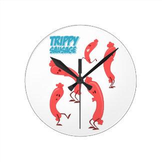 Trippy Sausage Print Round Clock