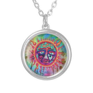 Trippy Sun Man Round Pendant Necklace
