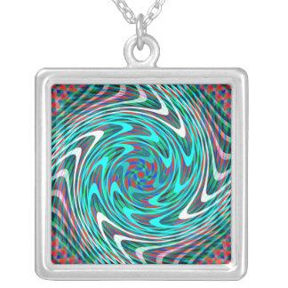 Trippy Swirl Tunnel Square Pendant Necklace