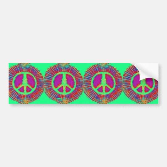 Trippy Tie-Dye Psychedelic Peace Sign Bumper Sticker