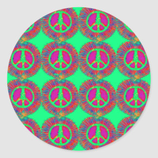 Trippy Tie-Dye Psychedelic Peace Sign Classic Round Sticker