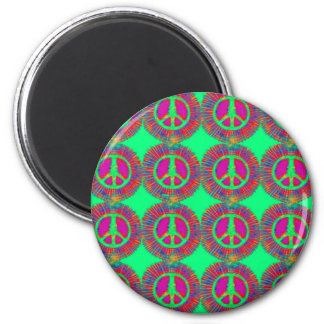 Trippy Tie-Dye Psychedelic Peace Sign 2 Inch Round Magnet