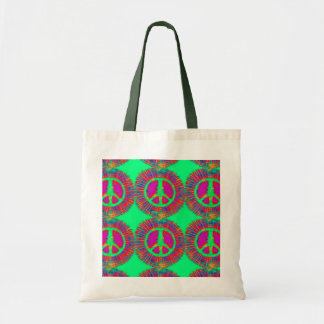 Trippy Tie-Dye Psychedelic Peace Sign Tote Bag