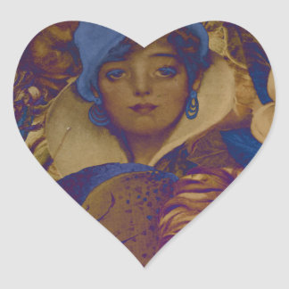 Trippy Vintage Woman Flower Garden Heart Sticker