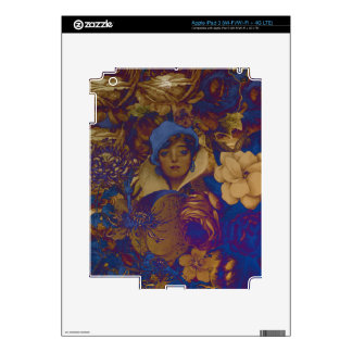 Trippy Vintage Woman Flower Garden iPad 3 Decal