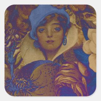Trippy Vintage Woman Flower Garden Square Sticker