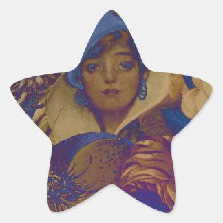 Trippy Vintage Woman Flower Garden Star Sticker