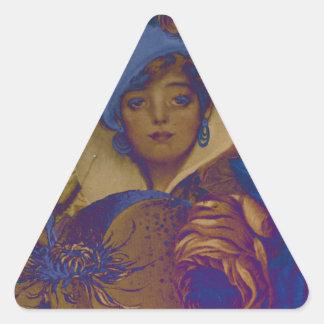 Trippy Vintage Woman Flower Garden Triangle Sticker