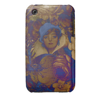 Trippy Vintage Woman Flowers Case-Mate iPhone 3 Case