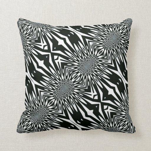 Trippy Vision#2 Black White Pattern Cushion