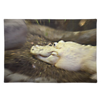 trippy white alligator zoomed reptile cloth placemat
