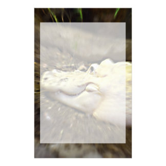 trippy white alligator zoomed reptile stationery