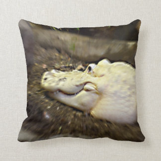 trippy white alligator zoomed reptile throw pillow