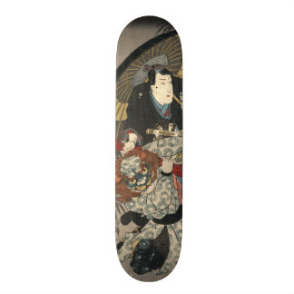 Tríptico 1847 de los actores de Kabuki dejado Monopatin