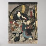 Tríptico 1847 de los actores de Kabuki dejado Póster