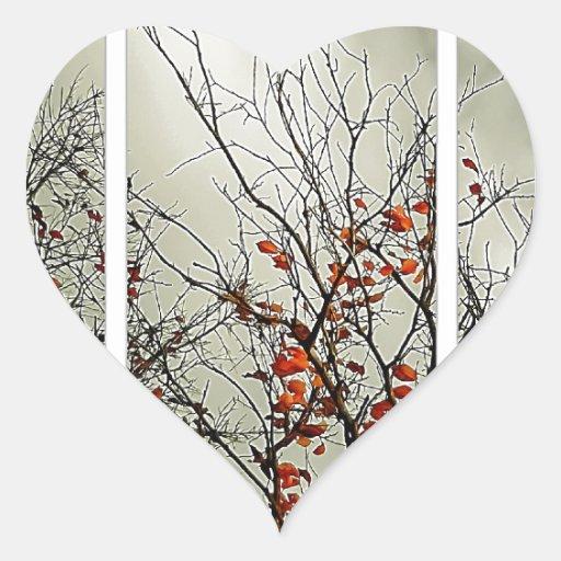 Tríptico con motivo natural pegatina en forma de corazón