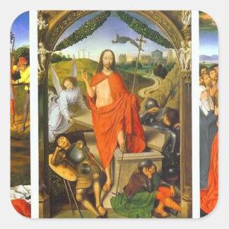 Tríptico de Hans Memling- de la resurrección Pegatina Cuadrada